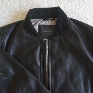 Calvin Klein Genuine Leather Bomber Jacket
